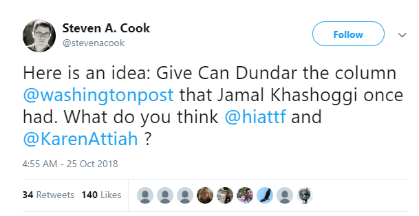 Steven A Cook tweet – Can Dundar